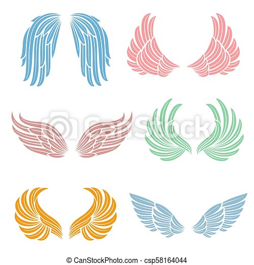 Elegant angel wings with long feather. angelic symbols isolated ...