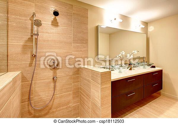 Elegant, badezimmer, warme töne. Brauner, badezimmer ...