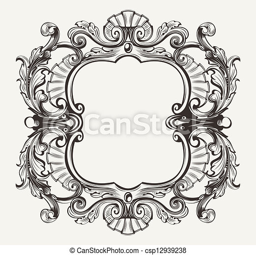 Elegant Baroque Ornate Curves Engraving Frame - csp12939238