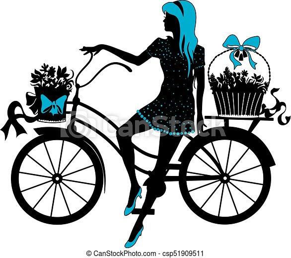 Elegant beautiful woman on a bicycle - csp51909511