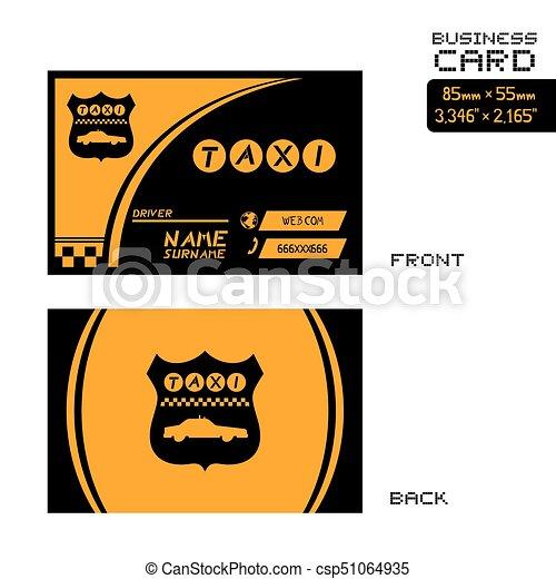 elegant black and orange taxi business card