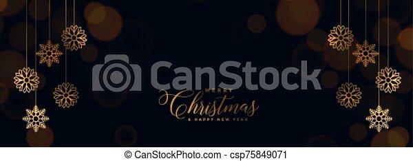 elegant black christmas banner with golden snowflakes - csp75849071