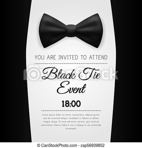 5dd698cb7a34 Elegant black tie event invitation template. eps10 vector.