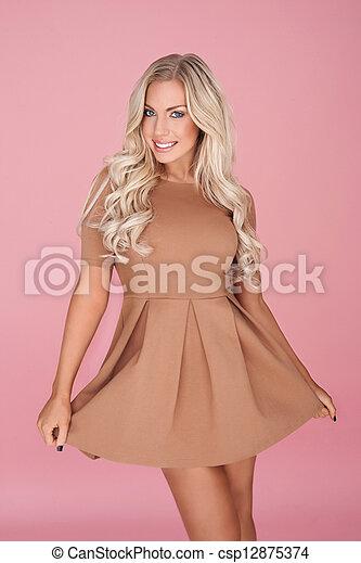 Busty blonde girl mini skirt
