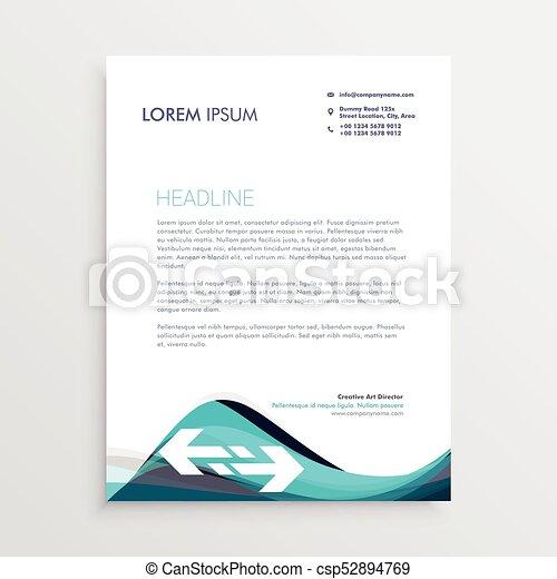 Elegant Blue And Gray Waves Letterhead Design