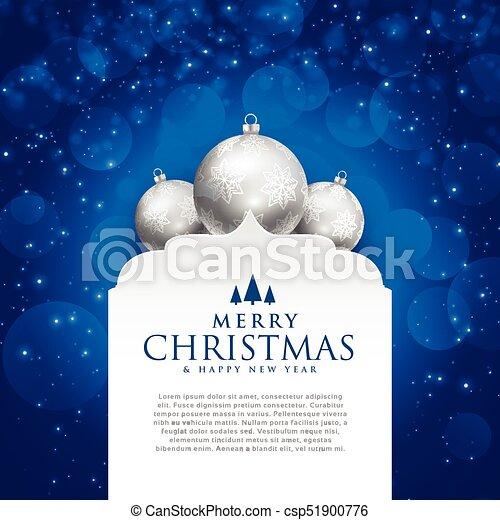 elegant blue merry christmas design with silver balls - csp51900776
