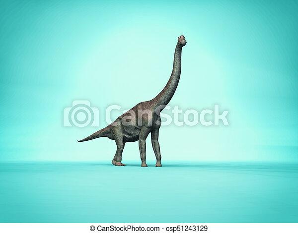 Simple Elegant Line Art : Elegant branchiosaurus on simple blue background d clip art