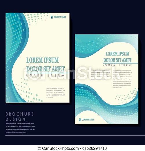 Elegant brochure template design with blue streamline wave.