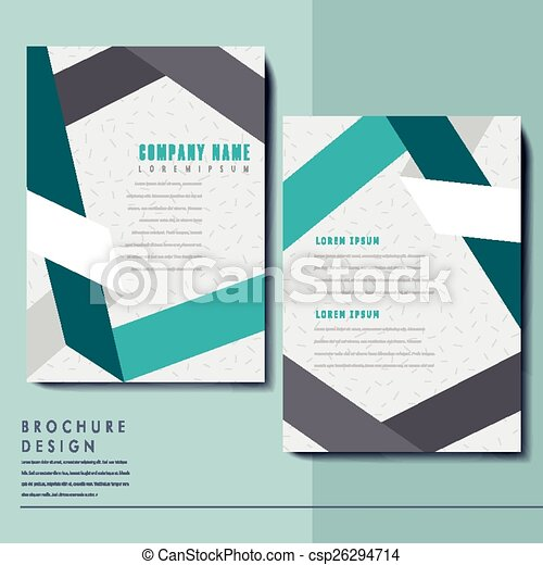Elegant brochure template design with paper folded elements.