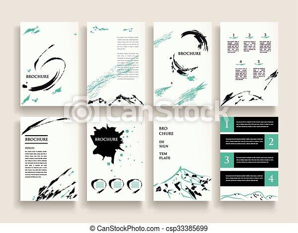 Elegant brochure template design set with brush stroke elements.