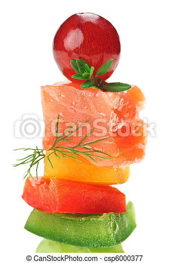 Elegant canape with salmon fish, dill twig and grape - csp6000377