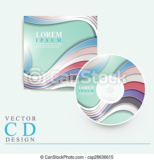 Elegant Cd Cover Template Design With Glossy Wave Elements