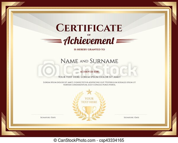Elegant Certificate Of Achievement Template With Vintage  Clip Art
