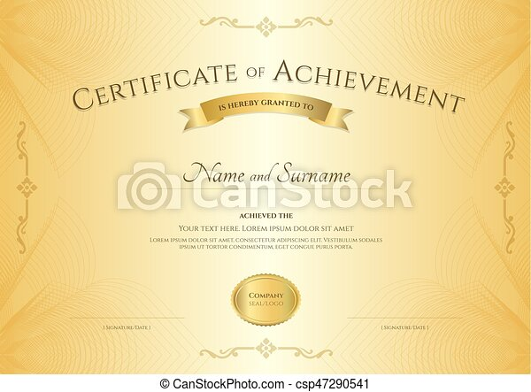 elegant certificate of achievement template on abstact guilloche