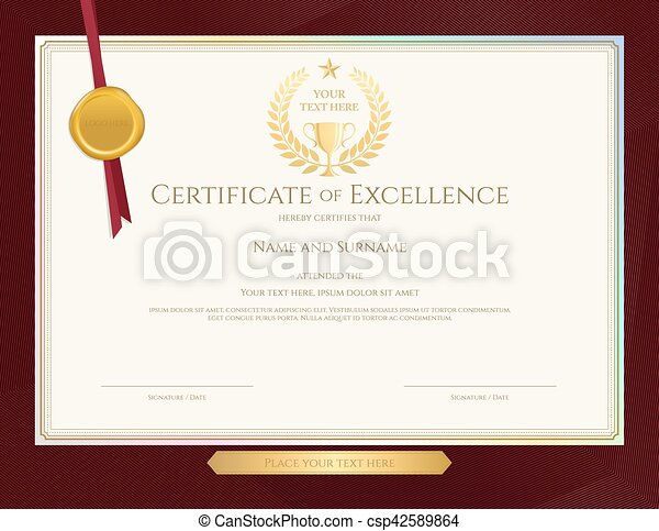 Elegant certificate template for excellence achievement clip elegant certificate template for excellence achievement appreciation or completion on red border background yadclub Image collections