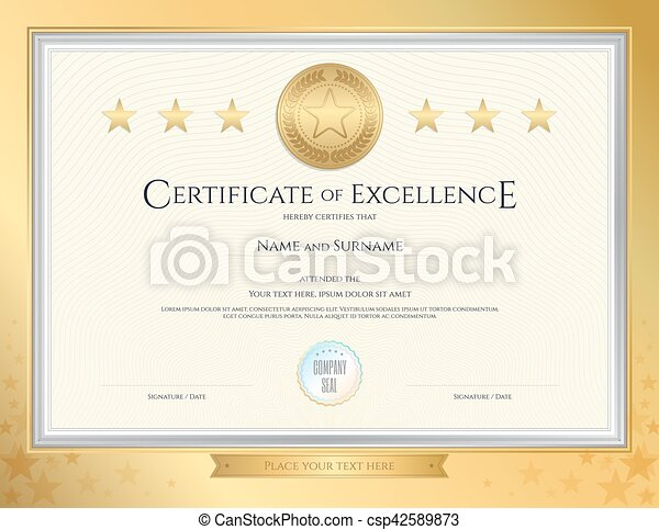 Elegant Certificate Template For Excellence Achievement  Vectors