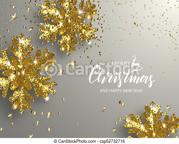 elegant christmas background with shining gold snowflakes vector illustration - Elegant Christmas