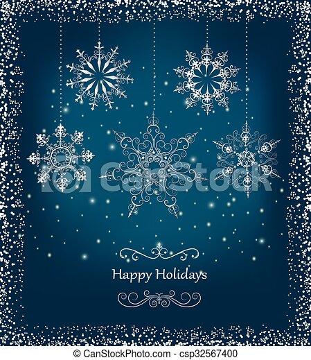 Christmas Card Greetings.Elegant Christmas Card With Snowfla