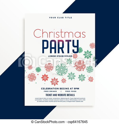 elegant christmas party flyer design with colorful snowflakes - csp64167645