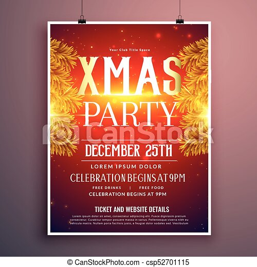 elegant christmas party flyer design with golden fir leaves - csp52701115