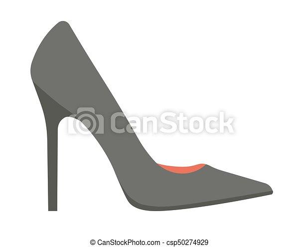 14568586920 Elegant classic black stiletto shoe isolated cartoon illustration