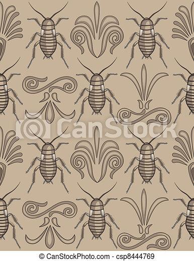 Elegant cockroach wallpaper pattern - csp8444769