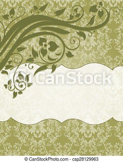 Elegant damask invitation card - csp28129963