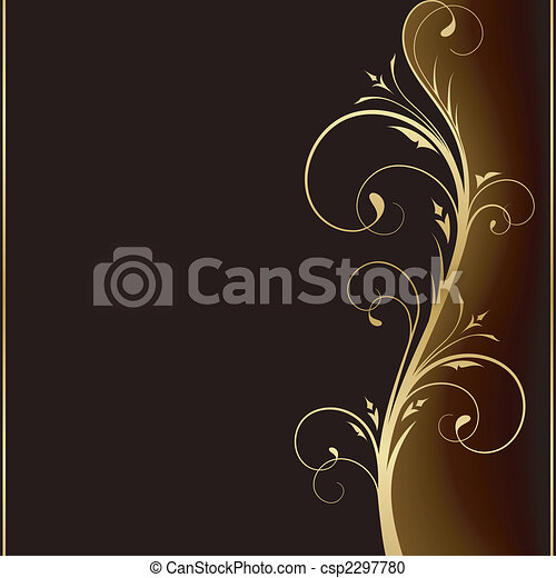 Elegant dark background with golden floral design elements - csp2297780