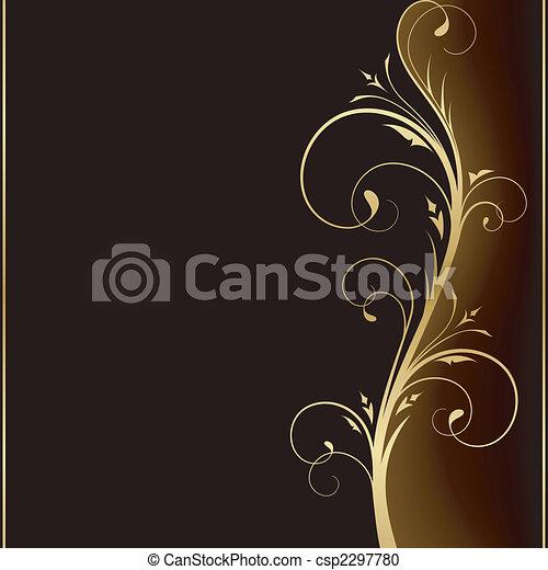 Elegant dark background with golden floral design elements - csp2297780