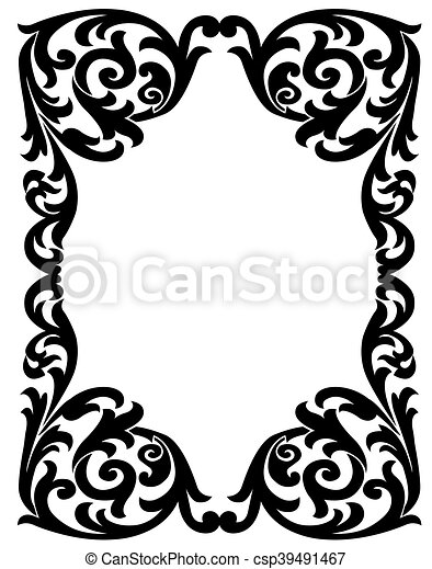 Elegant Decorative Frame Black Vintage With A Vegetal Design