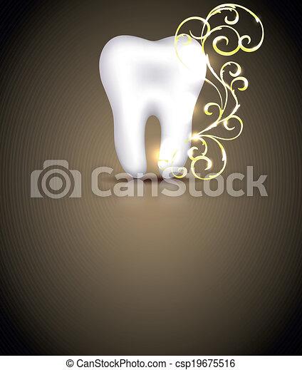 Elegant dental design with golden swirls element - csp19675516