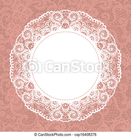 Elegant doily on lace gentle background - csp16408376