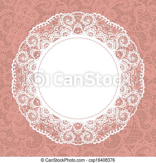 Elegant doily on lace gentle background - csp16408376