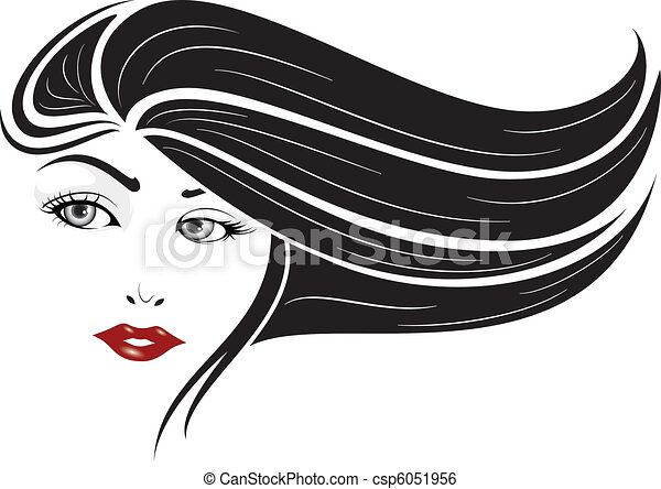Line Drawing Face Woman : Elegant face set illustration of glamour woman clip