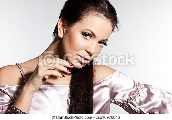 elegant fashionable woman with long hair - csp10970846