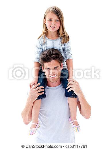 Elegant father giving his daughter piggyback ride - csp3117761