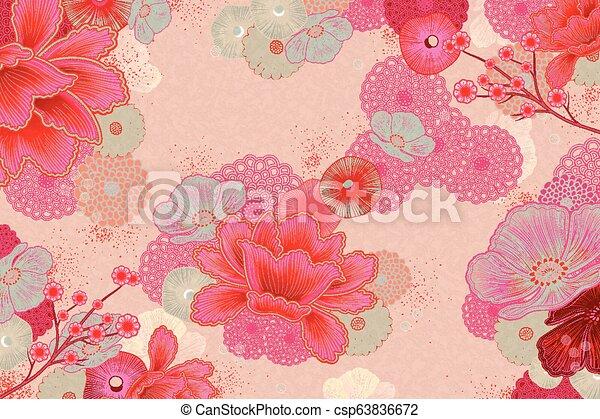 Elegant Floral Background Design In Fluorescent Pink