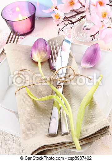 Elegant Floral Table Setting - csp8987402