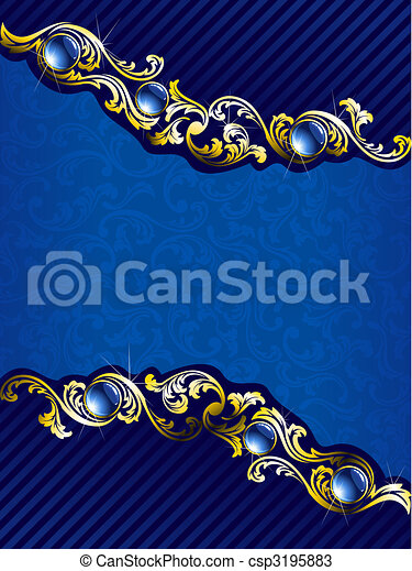 elegant gold and blue background with gems  vertical free hanging christmas ornament clipart christmas ornament border clipart free