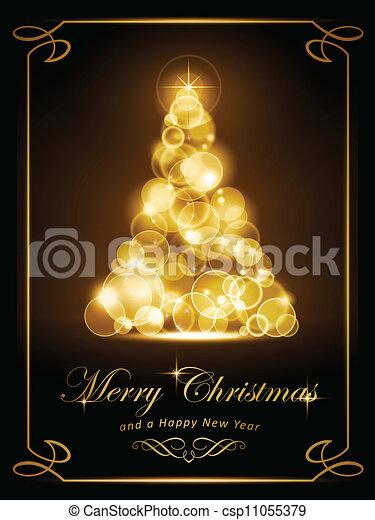 Elegant golden Christmas card - csp11055379