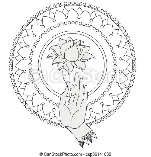 Elegant Hand Drawn Buddha Hand With Flower Isolated Icons Of Mudra