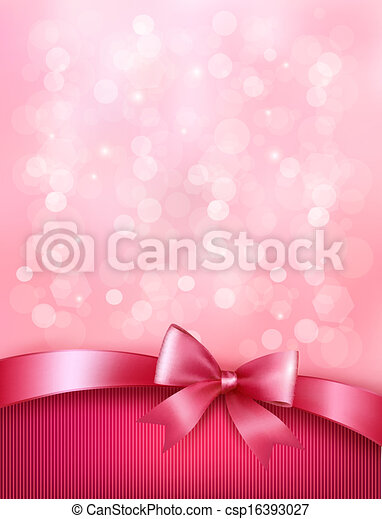 Elegant holiday background with gift pink bow and ribbon. Vector - csp16393027
