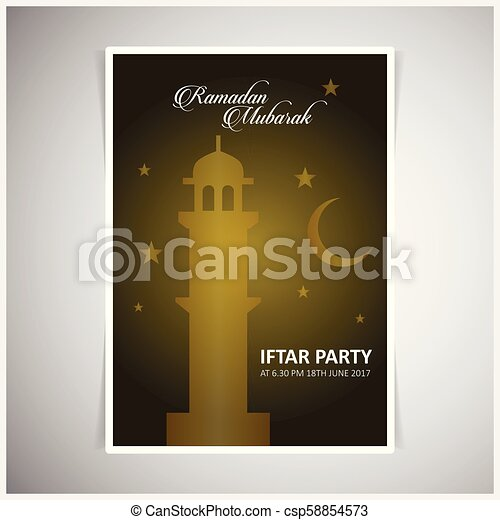 Elegant Iftar Party Invitation Card Design Decorated On Blackish Yellow Card On Light Grey Background