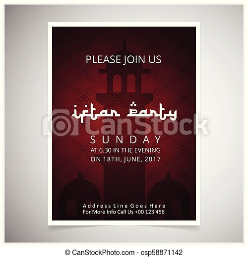 Elegant Invitation Card design decorated with blackish red masjid silhouette on dark red card , on grey background. - csp58871142