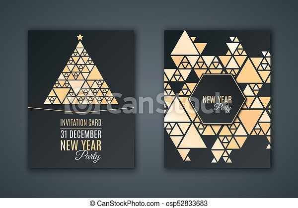 Elegant Invitation Card For New Year S Party Pattern Mosaic Made Of Golden Shining Triangles On A Black Background Christmas Tree Made Of Mosaic