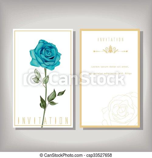 Elegant invitation with special blue rose isolated on beige background elegant invitation with special blue rose csp33527658 stopboris Choice Image