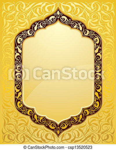 Elegant islamic template design in gold background. ideal for eid ...
