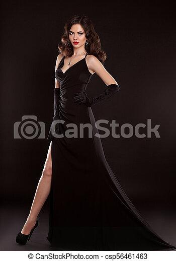 Elegant Lady In Black Dress Fashion Studio Photo Of Gorgeous Woman