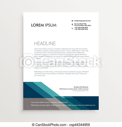 Elegant letterhead design template with blue and gray geometric shapes elegant letterhead design template with blue and gray geometric shapes csp44344959 spiritdancerdesigns Image collections