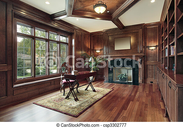 Elegant library with black fireplace - csp3302777